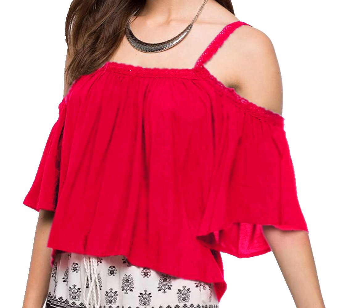 Ouwoow Women's Off Shoulder Spaghetti Straps Long Sleeve Blouse Crop Tops
