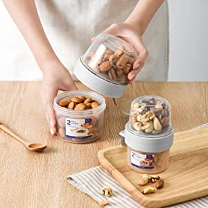 Pretty Styles Storage Box Food Container - Double-layer Sealed Storage Box Transparent Fresh Kepping Food Container With Scale Breakfast Fruit Milk Leak-proof Cup, (150 and 330ML)