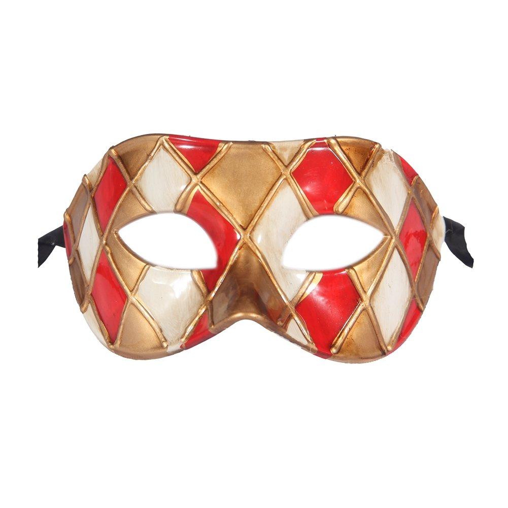 Xvevina, maschera veneziana di lusso da uomo Colombina per festa in maschera, ballo in maschera, cosplay, black/gold, taglia unica