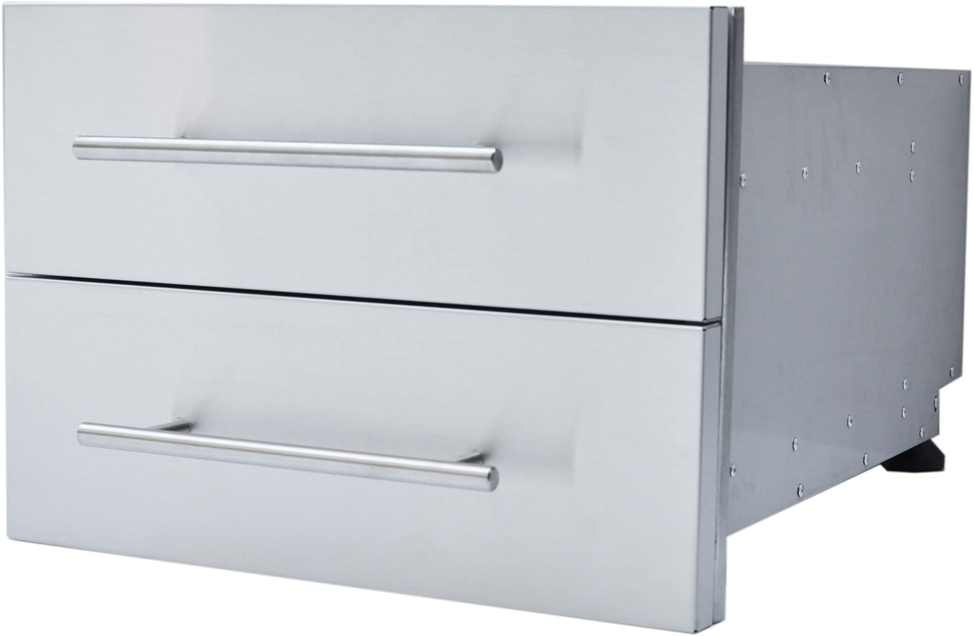"SUNSTONE DE-DD13 Designer Series Raised Style Height Double Drawer, 18"" x 13"", Stainless Steel"