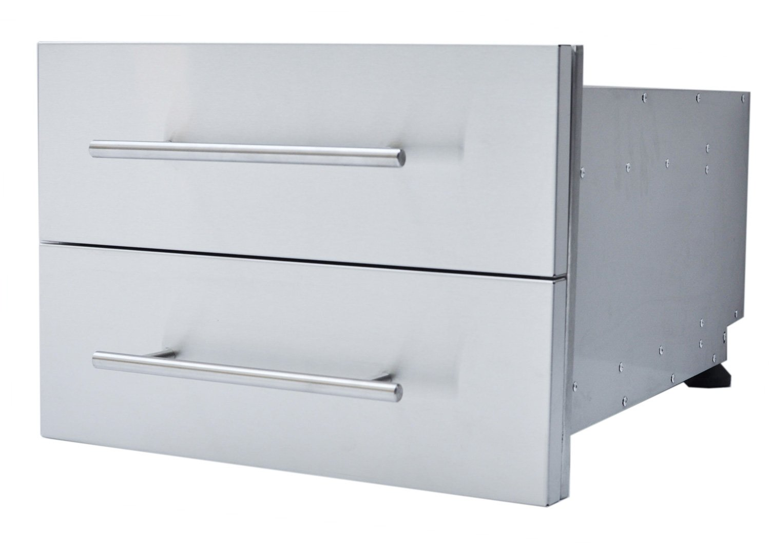 SUNSTONE DE-DD13 Designer Series Raised Style Height Double Drawer, 18'' x 13'', Stainless Steel