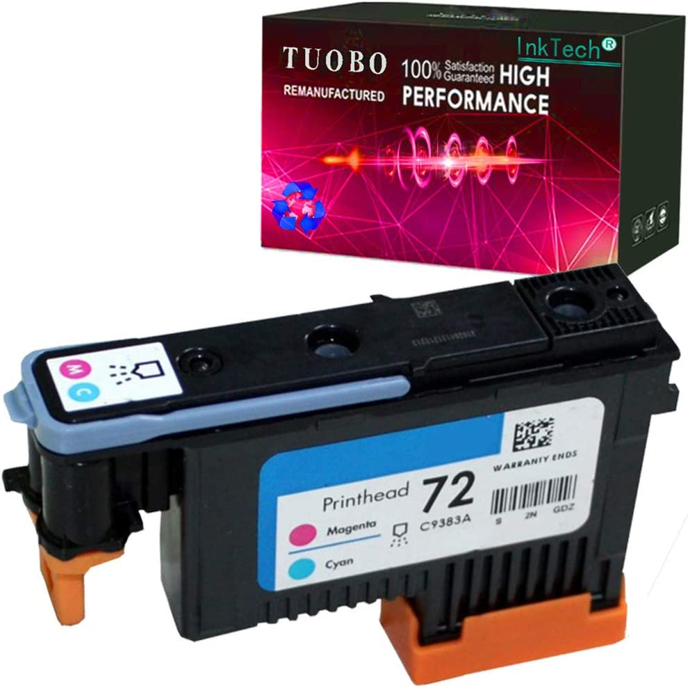 Tuobo H-P 72 Remanufactured printheads C9380A C9383A C9384A with Updated Chips Compatible with H-P Designjet T610 T620 T770 T790 T1100 T1120 1200 T1300 T2300 Printer (Magenta/Cyan)