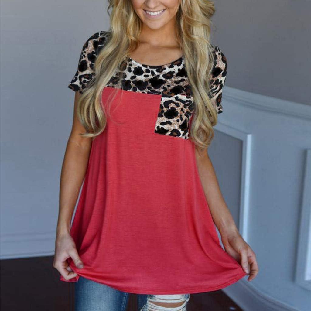 VEFSU T-Shirt Women Gradient Short Sleeve Tunic Blouse Tops