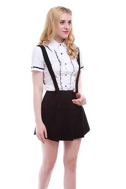 Nuotuo Womens marinero japonés escuela secundaria uniforme plisado falda Outfit - Blanco -
