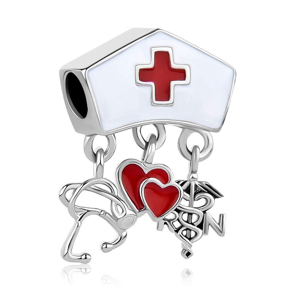 Sug Jasmin caduc/ée RN infirmi/ère Cap Charms pour infirmi/ère Perles Compatible avec Bracelets de Cham