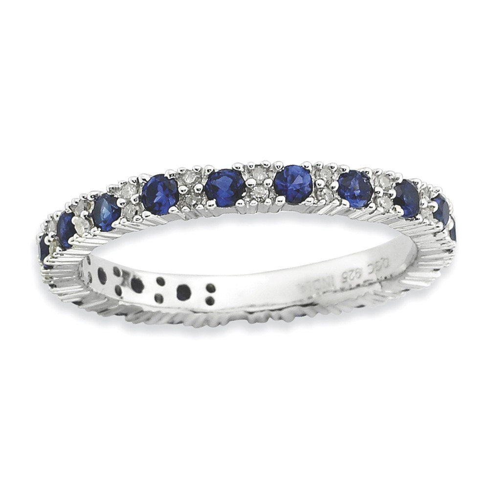 Sterling Silver Stackable Expressions Polished Cr. Sapphire & Dia Ring Size 6
