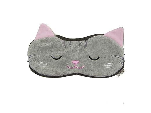 Eye Mask Shades Blindfold Sleeping Warm Cold Gel Pack Travel Comfortable Night's Bestever (Cat-Grey)