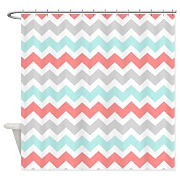 Curtains Ideas coral chevron shower curtain : Amazon.com: CafePress - Coral Aqua Grey White Chevron Shower ...