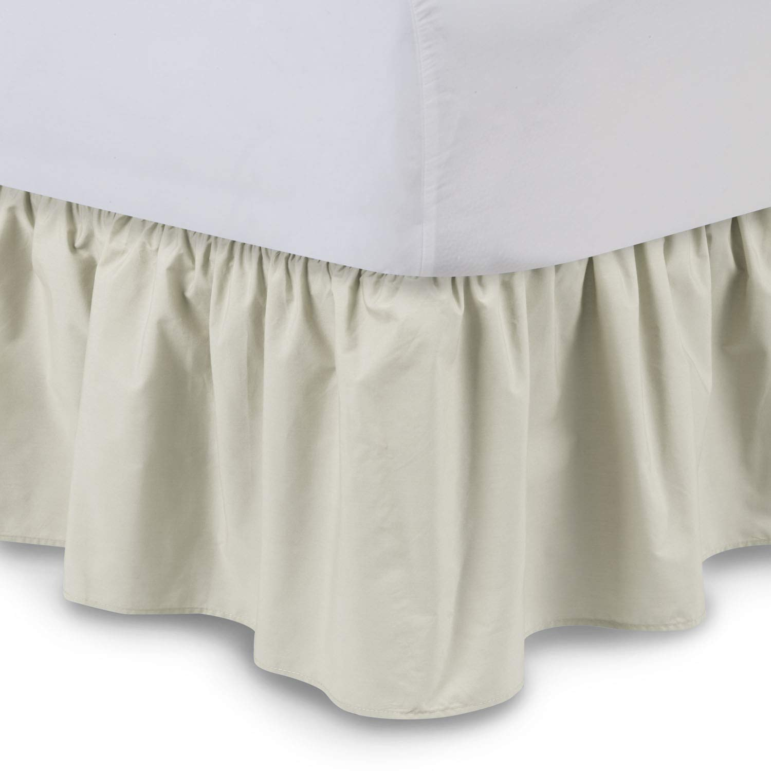 14 Inch Drop Dust Ruffle with Platform by Harmony Lane Wrinkle and Fade Resistant Shop Bedding Ruffled Bed Skirt Full XL, Bone Available in all bed sizes and 16 colors