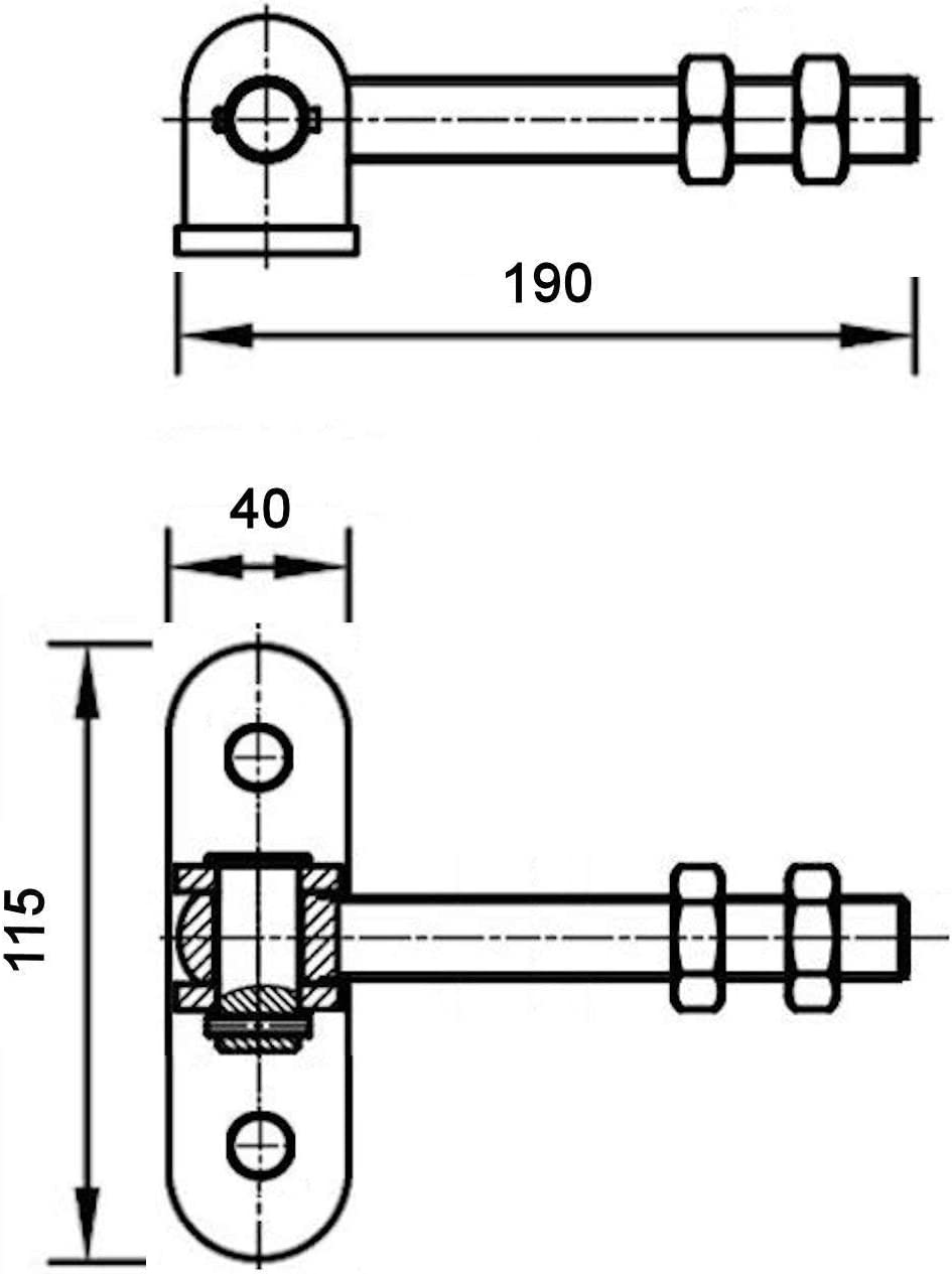 Torangel 190 mm mit Befestigungsplatte M16 verstellbar Torbeschlag Torband Konstruktionsscharnier von SO-TECH/®