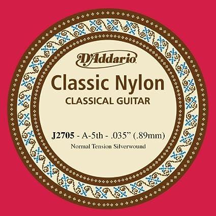 DAddario J2705 - Cuerda individual de nailon para guitarra clásica, nivel principiante, tensión normal, quinta cuerda, plateado: Amazon.es: Instrumentos musicales