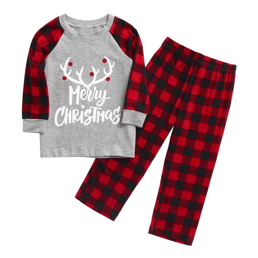 Pigiami Famiglia Natale Set,Natale Famiglia Pigiama Natale Abbigliamento Famiglia Donna Uomo Neonato Bambino Pigiama Natale Due Pezzi Camicie da Notte Pigiami Ragazzi Ragazze Natale Set