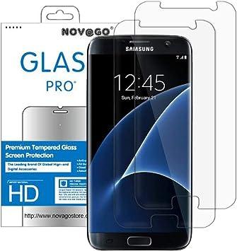 NOVAGO - Protector de Pantalla de Cristal Templado Transparente para Samsung Galaxy S7 (2 Unidades): Amazon.es: Electrónica