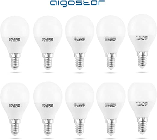 Aigostar - Pack de 10 Bombillas LED A5 G45, E14, 5 W equivalente a 40 W, Luz calida 3000K, 400 lúmenes, no regulable - [Clase de eficiencia energética A+]: Amazon.es: Iluminación