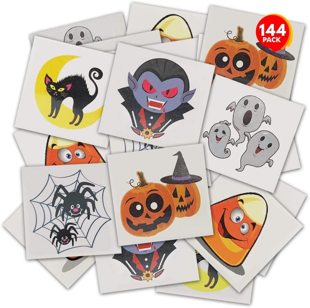 ArtCreativity Halloween Temporary Tattoos for Kids - Pack of 144 - 2 Inch Non-Toxic Tats Stickers for Boys and Girls, Best for Halloween Party Favors, Treats, Décor, Goodie Bags - 6 Assorted Designs - Designs may vary