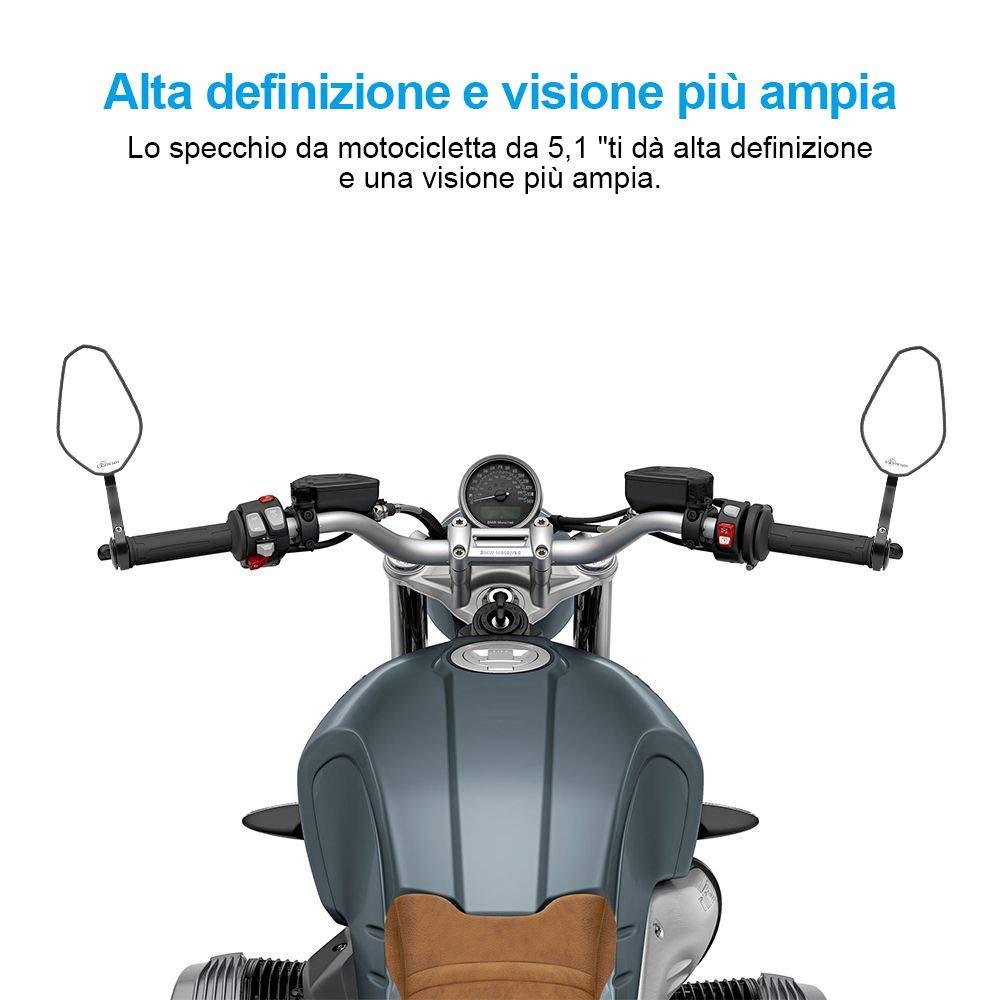 7//8 22mm Specchio Moto Specchietti per Manubrio Retrovisori Universali Bar End Specchio Posteriore in Vetro Convesso Senza Angolo Cieco per Moto Scooter Cruiser