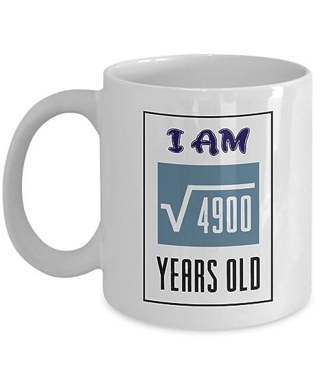 Radice Quadrata Di I Am 4900 70 Anni Tazza Da Caffè Per