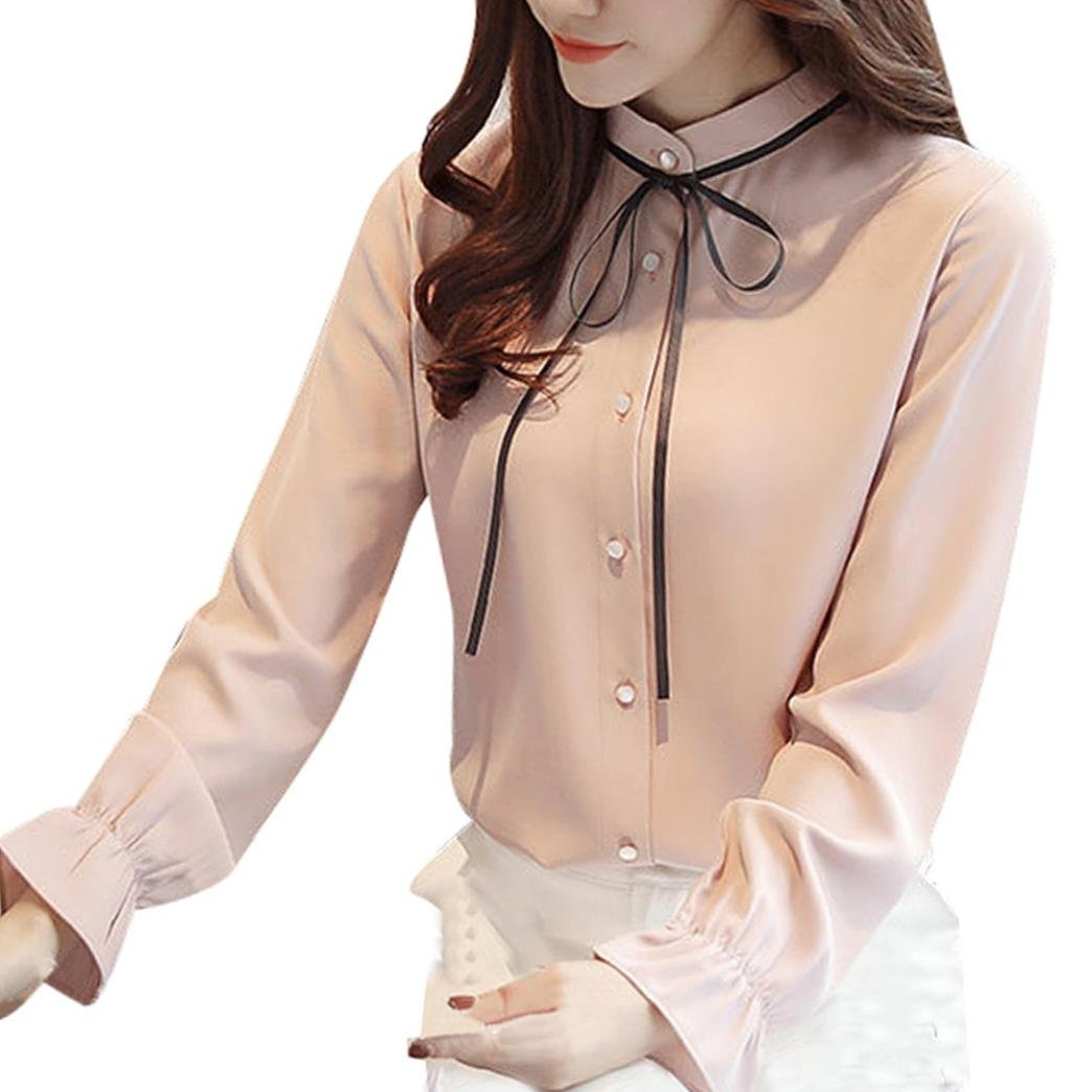 Pervobs Women T-Shirt, Big Promotion! Women Lace-up Solid Long Sleeve Chiffon Floral Work Office Bow Tie Shirt Top Blouse (S, White)