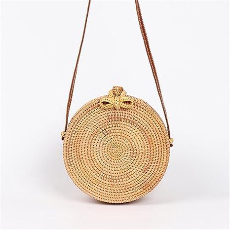 Amazon.com: Bolsas redondas de paja para mujer, bolsa de ...