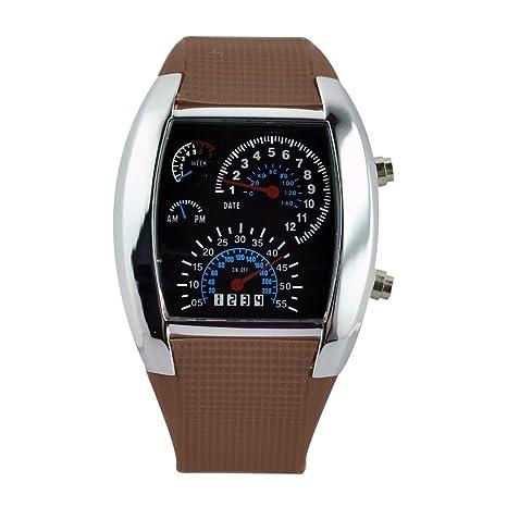 Reloj de pulsera digital binario de luz LED de Aviación Piloto Velocímetro Dash Hombres (banda
