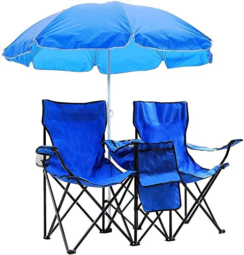 QCUTEP Double Folding Chair, Portable Camping Chair Picnic Chair with Removable Umbrella Table Cooler Bag for Outdoor Patio Garden Lawn Beach Fishing