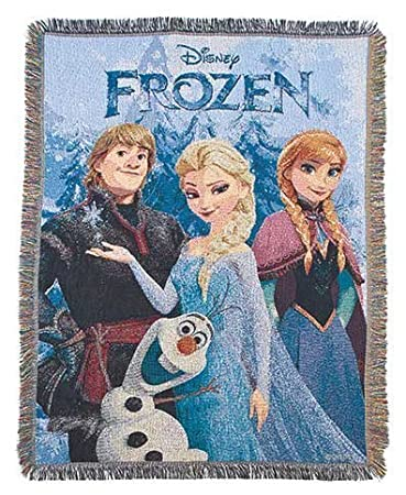 Disney's Frozen Tapestry Throw Blanket with Elsa, Anna, Olaf & Kristoff Christmas Time
