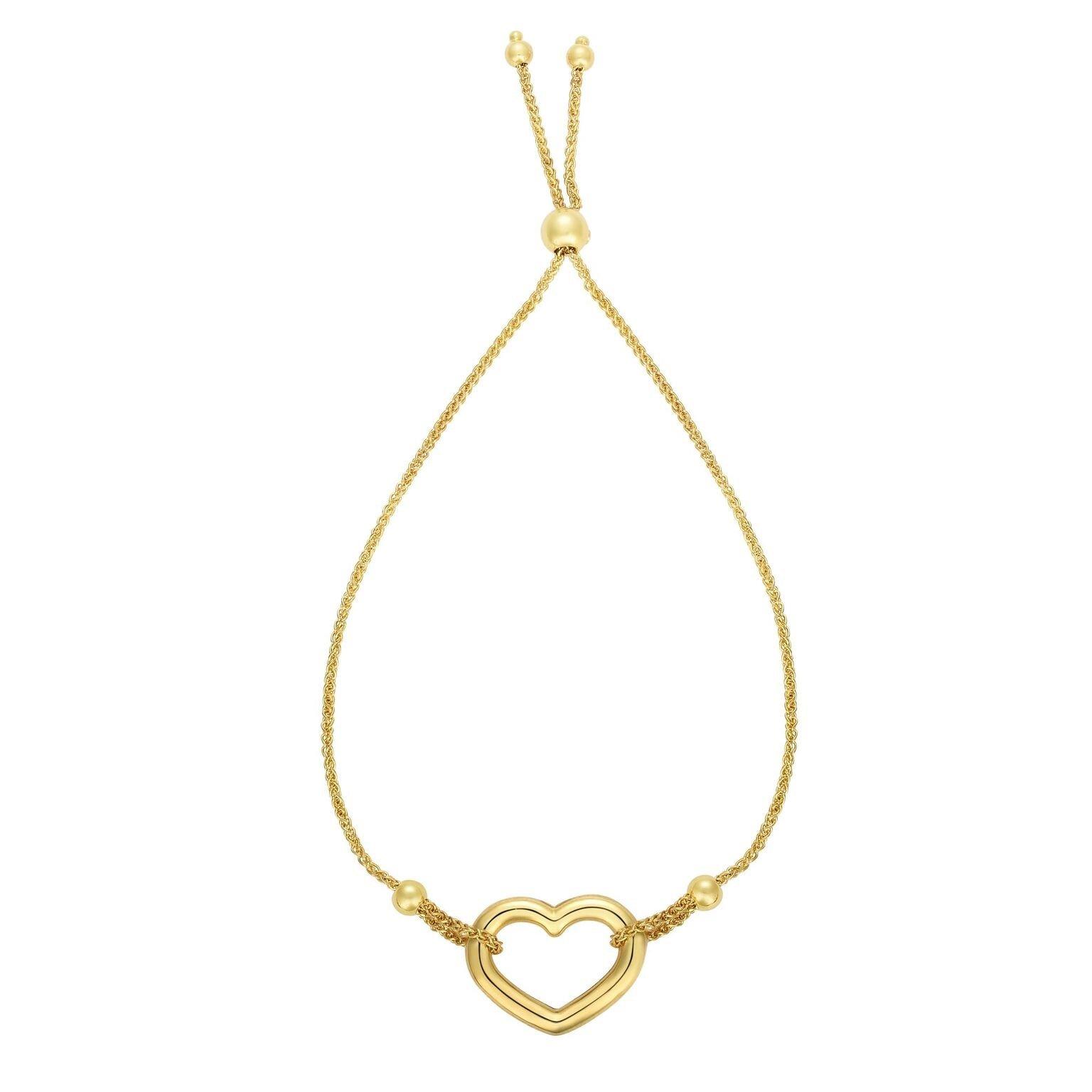 BH 5 STAR 14kt Gold 9.25'' Yellow Finish Chain:1mm+Element:14x18mm Heart Fancy Bracelet