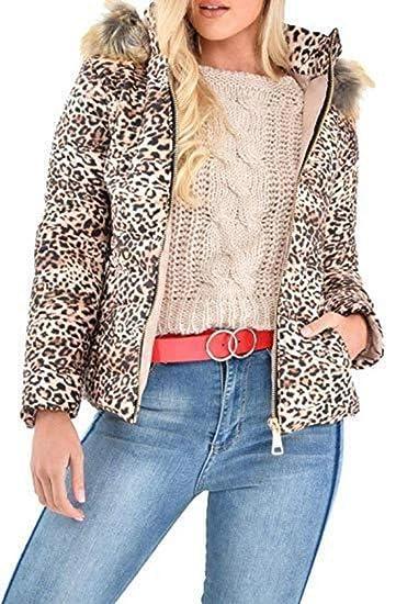 2293c729ad39c Womens Ladies Wet Look Animal Leopard Print Faux Fur Hooded Puffer Jacket  Fashion Coat  Amazon.co.uk  Clothing