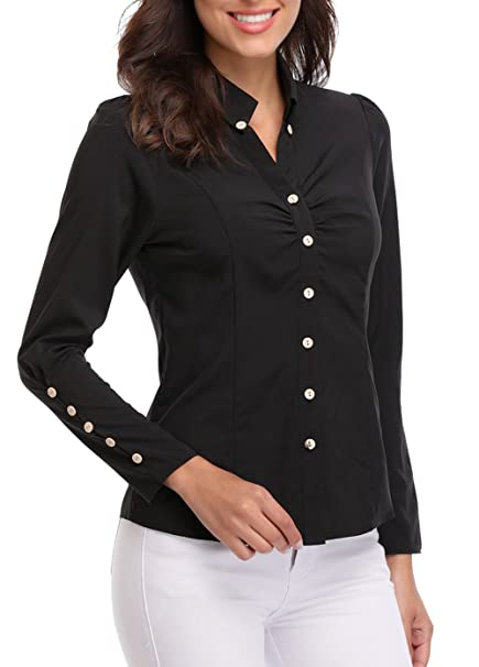 ec90415d0f566 MISS MOLY Women's Black Point Collar Casual T-Shirts Ruffled Chest Button  Decor Long Sleeve