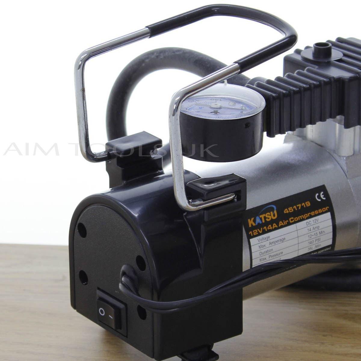 Katsu ® 451719 - Inflador de neumáticos de Coche, compresor de Aire, 12 V Gran relación Precio-Calidad: Amazon.es: Coche y moto