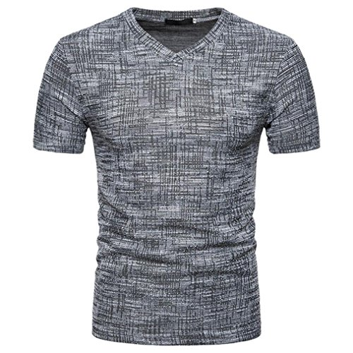 (Men's Summer T-shirts Casual Soild V Neck Short Sleeve Pullover Tops Blouse By Gergeos)