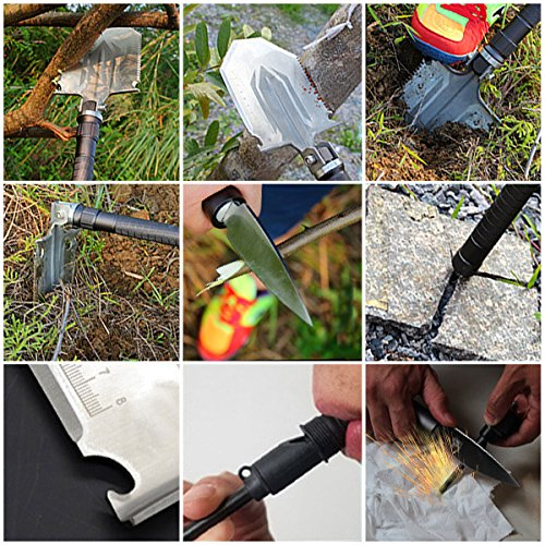 Xben Folding Camp Shovel, Chinese Military Tactical Shovel Army Surplus Survival Gear, Multi purpose Outdoor Emergency Tool Kit for Car and Snow Removal