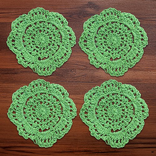 YIZUNNU 4pcs Handmade Crochet Doily Round Cotton Coasters,Diameter 4 Inch,Green ()