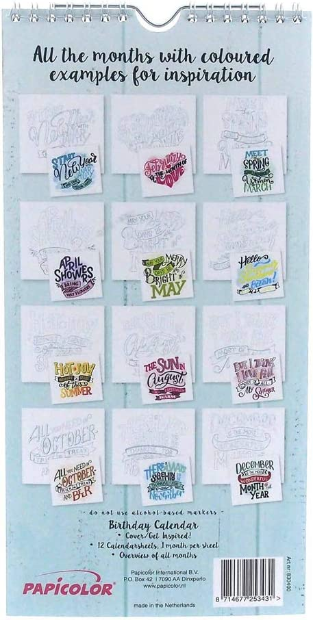 No. 830401 Immerw/ährende Geburtstagskalender Lettering doppelseitig
