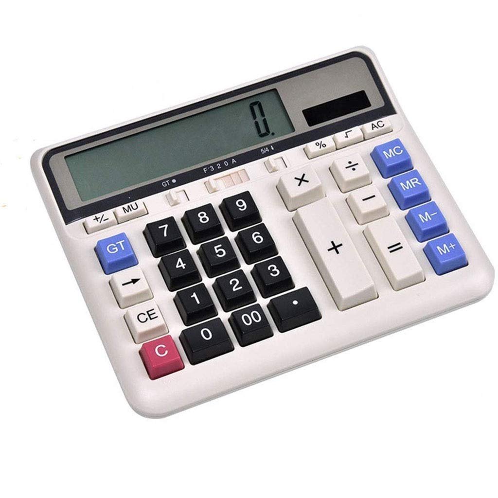 Calculator Desktop Office Calculator Computer Button Shatter-Resistant Panel Dual Power Solar 12-bit Large Screen Display (1 Pcs Calculator) Office Calculator Vineyard (Color : 2A) by Vineyard