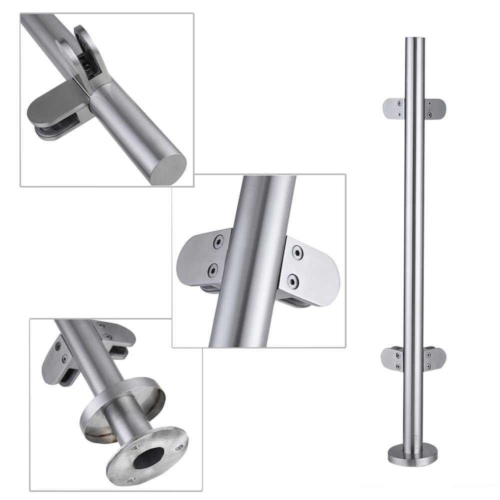 Tuff Concepts Grade 304 Stainless Steel Balustrade Posts with Glass Clamps Rubbers & End Caps (Corner Post 900mm)