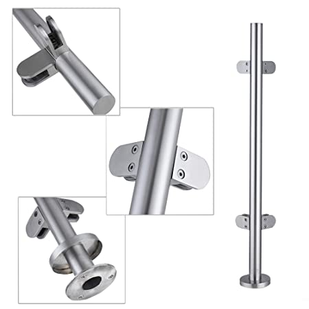 DIY & Tools Britoniture Stainless Steel Balustrade Posts 1100mm High End Post with glass clamps and rubbers Decking Landing Staircase