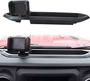 Sukemichi Jeep JL Phone Holder with Storage Box, Multi-Function Dash Phone Mount for Jeep Wrangler JL 2018 2019 2020