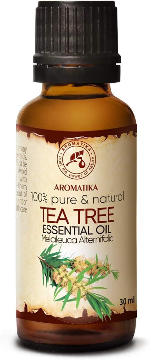 Aceite Esencial de Arbol de Té 30ml Botella - Australia - 100% Puro y Natural - Ideal para la Belleza - Aromaterapia - Difusor - Lámpara de Aroma - Cosméticos - Tea Tree Essential Oil