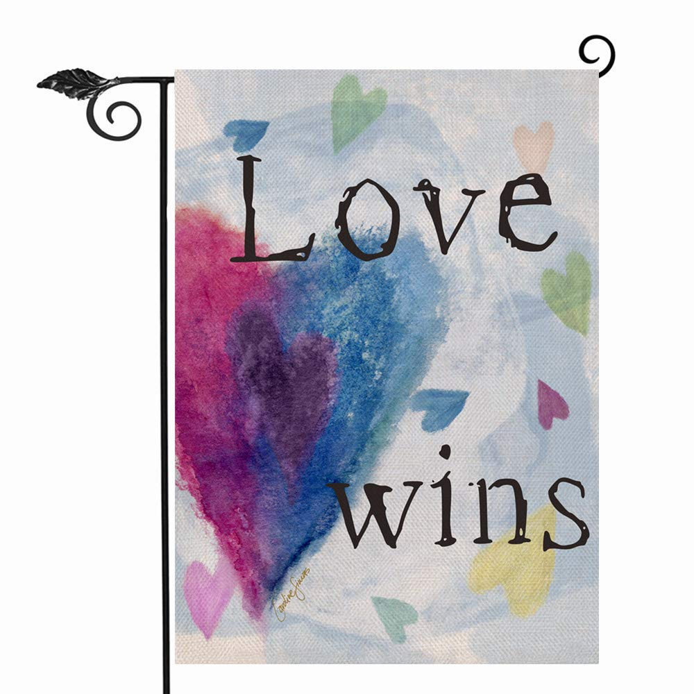 Hzppyz Love Wins Garden Flag Double Sided, Heart Decorative House Yard Lawn Outdoor Small Burlap Flag, Inspirational Watercolor Decor Home Outside Welcome Decorations 12 x 18