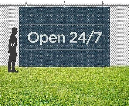 9x6 CGSignLab Open 24//7 Basic Navy Wind-Resistant Outdoor Mesh Vinyl Banner