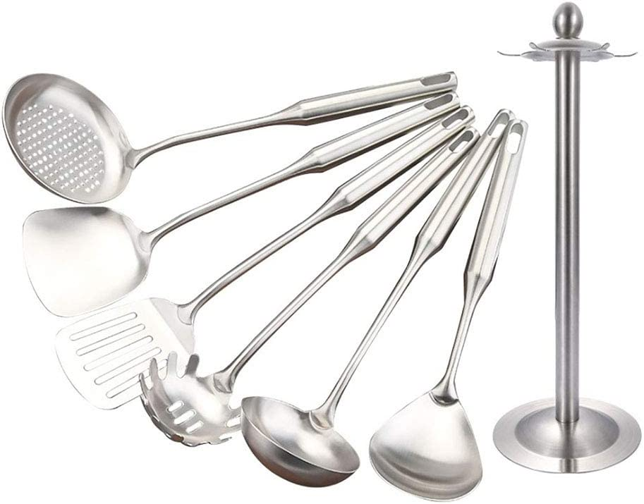 Stainless Steel Cooking Utensil Set - 7 Pcs Cooking Utensils,Non-rusting and Non-deforming Metal Kitchenware.: Kitchen & Dining