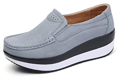 Amazon.com: rainrop Mujer Plataforma Slip On Mocasines ...