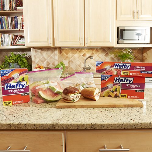 Hefty Slider Plastic Food Storage Bags (Gallon, 30 Count, Pack of 4) by Hefty (Image #1)
