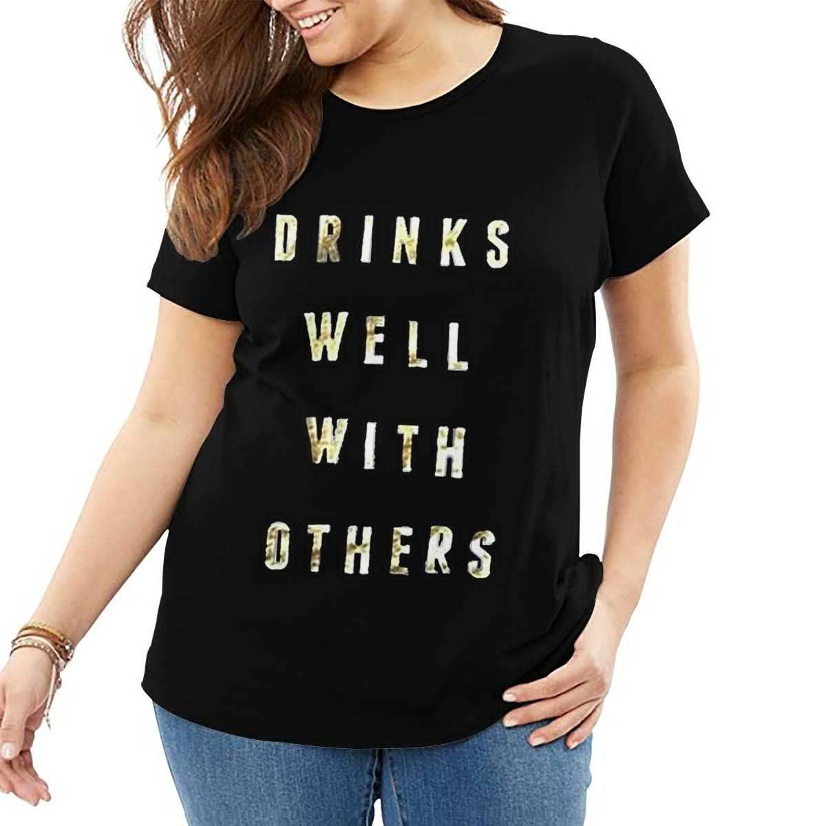 Fat Women's T Shirt Drinks Well with Others Tee Shirts T-Shirt Short-Sleeve Round Neck Tshirt for Women Youth Girls Black 4XL by BKashy