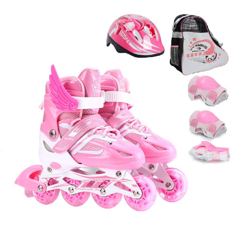 調節可能なインラインスケート、男性と女性は点滅ホイール屋内/屋外フィットネスローラースケート、安全で快適な通気性のフラッシュローラーシューズを着用 B07QJB9K7X Large pink pink Large