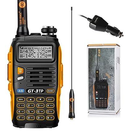Baofeng GT-3TP Mark-III Walkie Talkie 8W/4W/1W UHF VHF 2 Way Radio Dual Band Transceptor de Mano con Cargador de Coche y Antena