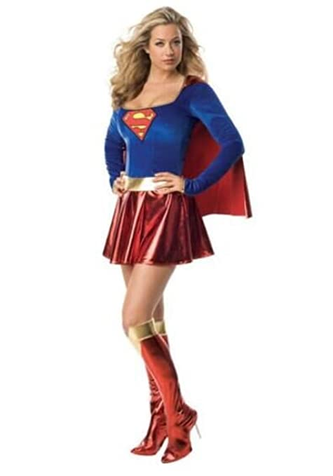 e741b78f3cc Image Unavailable. Image not available for. Colour  Ladies Supergirl  Superwoman Fancy Dress Outfit ...