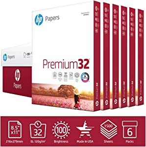 HP Printer Paper 8.5x11 Premium 32 lb 6 Pack Case 1500 Sheets 100 Bright Made in USA FSC Certified Copy Paper HP Compatible 113500C