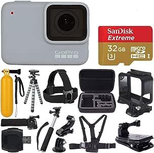 GoPro Hero 7 (White) Waterproof Digital Action Camera + Sandisk Extreme 32GB MicroSD Memory Card + Medium Case + Flexible Tripod + Head & Chest Strap + Monopod + Floating Handle + Wrist Strap + Clamp